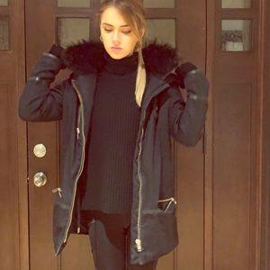 Authentic Kooples down coat with Fox fur